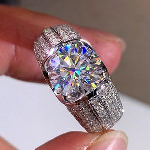 NEW 925 Silver Round Diamond Engagement Ring